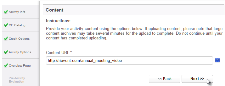 Content Upload - external URL