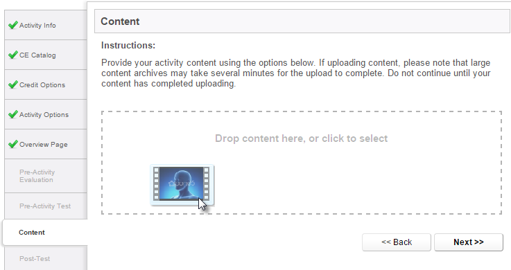 Content Upload - drag and drop interface